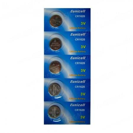 Piles électroniques CR1620 EUNICELL - Blister de 5 - Lithium 3V