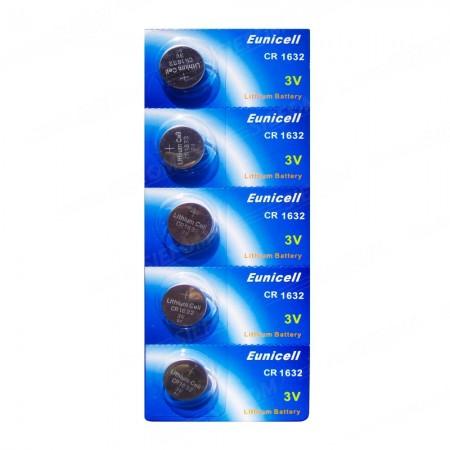 Piles électroniques CR1632 EUNICELL - Blister de 5 - Lithium 3V
