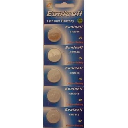 Piles électroniques CR2016 EUNICELL - Blister de 5 - Lithium 3V