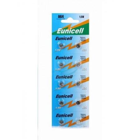 Piles de montre AG4 EUNICELL - Blister de 10 - LR626 / SR626 / 177 / 377 / 376 - Alcaline