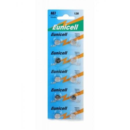 Piles de montre AG7 EUNICELL - Blister de 10 - LR926 / SR927 / 195 / 395 / 399 - Alcaline