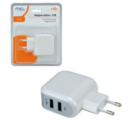 CHARGEUR SECTEUR 2 Ports USB 1A + 2,4A
