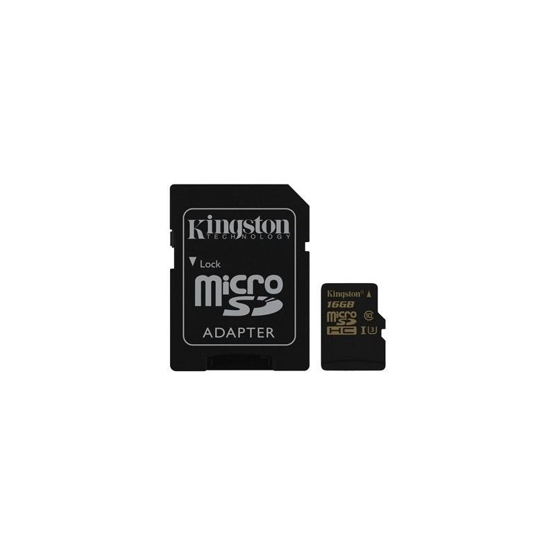 Carte mémoire Kingston Gold SDCG/16GB UHS-I U3 / Class10 - microSDHC UHS-I avec adaptateur micro SDHC - SD