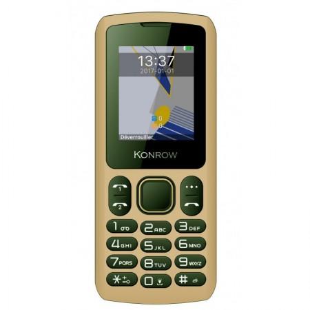 Konrow Chipo 3 - Téléphone Classique - Ecran 1.8'' - Photo - Bluetooth - Double Sim - Moka
