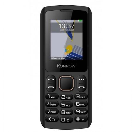 Konrow Chipo 3 - Téléphone Classique - Ecran 1.8'' - Photo - Bluetooth - Double Sim - Noir